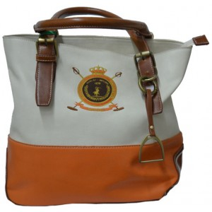 Large Handbag Beige Eco Leather With Orange Details (HE0001)