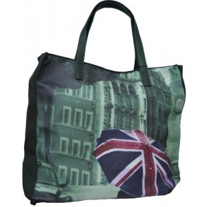 Large Handbag Dark Green With Print (LK1509)